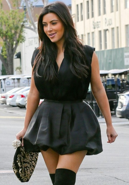 Kim-Kardashian-Sexy-Legs-In-Silk-Mini-Dress-And-Dyes-Hair-Dark-For-Christmas2-450x644