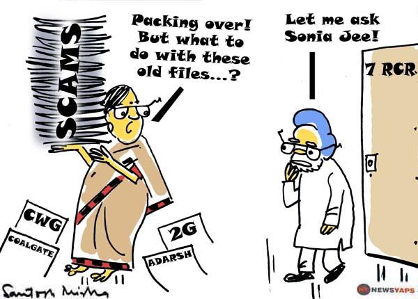 Manmohan-Singh-packing-baggage-Cartoon
