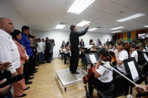 Venezuelan-president-Nicolas-Maduro-inaugurated-a-new-children's-music-centre-in-the-headquarters-of-the-electricity-ministry
