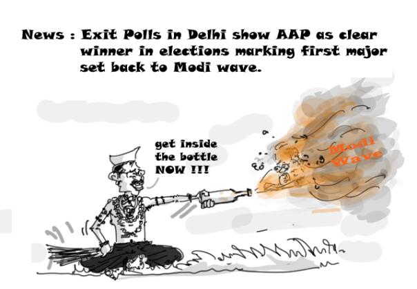 delhi-election-cartoons-kejriwal-vs-modi-wave