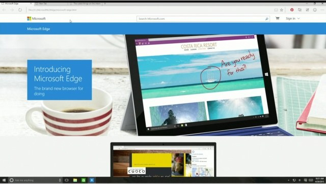Microsoft Build 2015 Microsoft Edge browser on all window 10 devices to replace IE