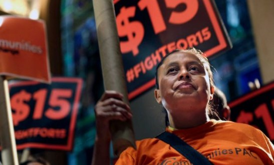 Fast-Food Workers Celebrate New York Plan $15 Minimum Wage