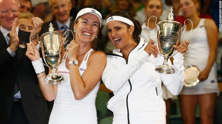 Sania Mirza Martina Hingis create history win Wimbledon Women Doubles Final