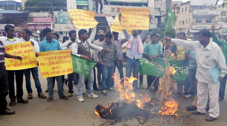 Ranchi, Jharkhand 19 September 2015 :: People from tribal community protest against Messenger of God-2 (MSG-2) movie in Ranchi on Saturday. photo-Ratan Lal