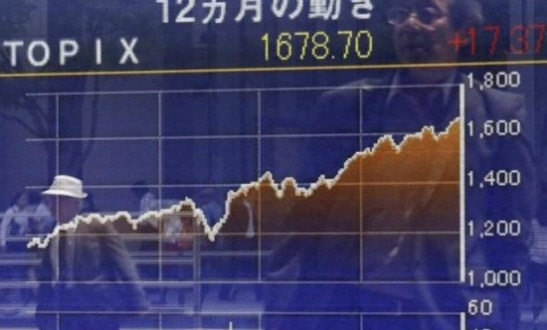 Asia stocks hesitant: dollar knocked after poor US data