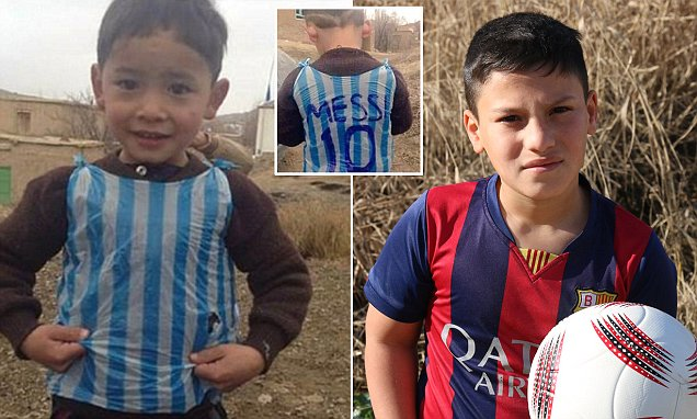 Boy in the Lionel Messi football shirt made from a blue an