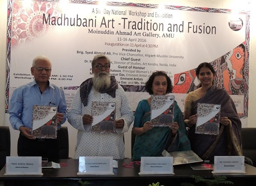 Guests-releasing-the-souvenit-of-National-Workshop-on-Madhubani-Art