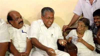 Chief-Minister-designate-Pinarayi-Vijayan-Visits-JSS-Leader-Gowri-Amma