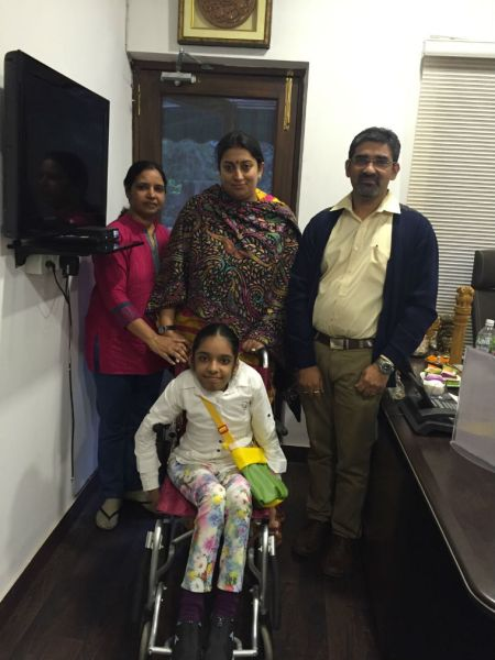Smriti-Irani-assures-help-to-differently-abled-Gurgaon-Girl