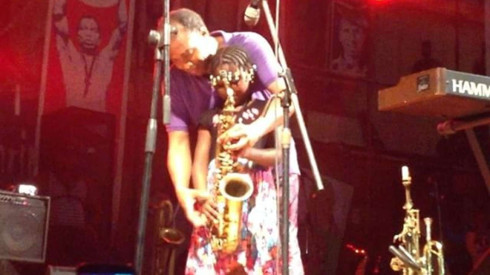 Singer's daughter plays the sax at New Afrika Shrine