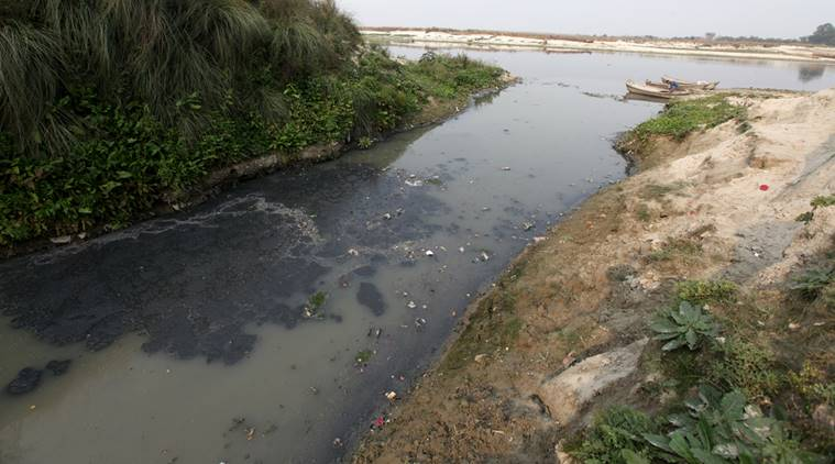 A Nalah just behind the Kanpur tanneries goes to River Ganga without any trearment at Jajmau area of Kanpur.tanneries major source of pollution in Ganga. Express photo by Vishal Srivastav 05.02.2015